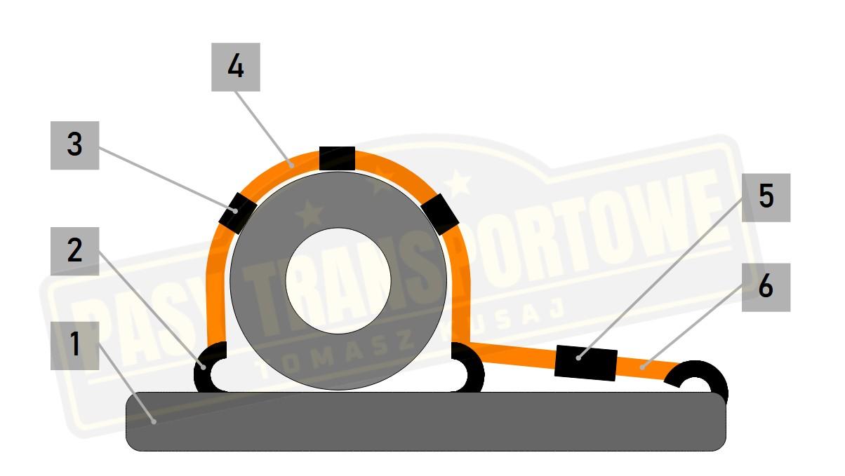 Pas do lawety 3 punktowy z napinaczem 5 ton mocowanie