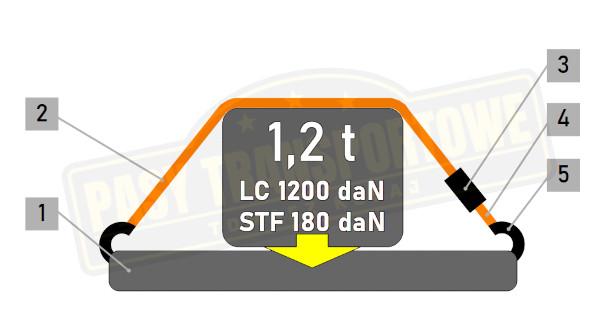 Pas ROLLO samozwijający 1,2 tony z napinaczem - 50 mm