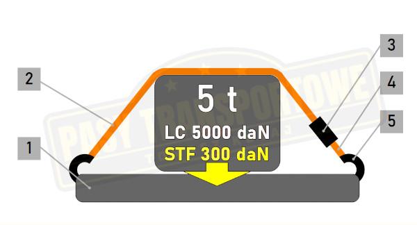 Pas transportowy z napinaczem 5 ton
