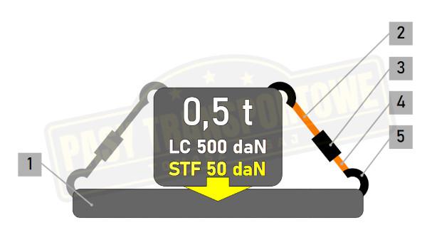 Pas transportowy z napinaczem 0,5 tony